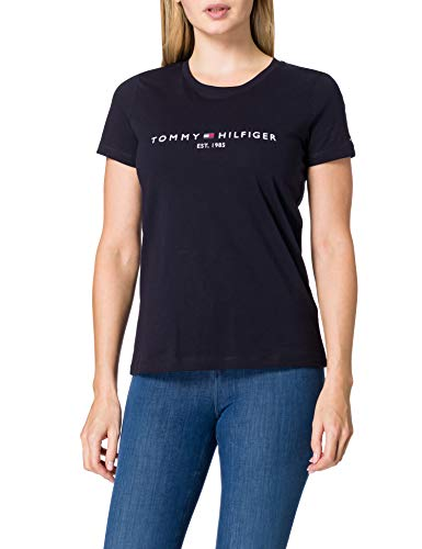 Tommy Hilfiger TH ESS Hilfiger C-NK REG tee SS Camiseta sin mangas para bebés y niños pequeños, BLUE, XS para Mujer