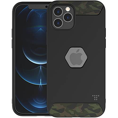 TACTISM iPhone 12 シリーズ ケース 耐衝撃 米軍MIL規格 ストラップホール 滑り防止 ミリタリーデザイン ALPHA タクティカルブラック (iPhone 12 / 12 Pro, Recon Green)