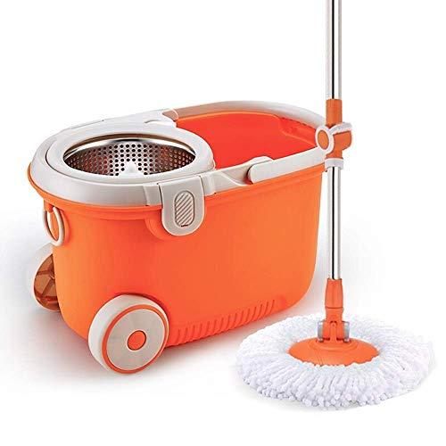 STRAW Mop , Spin Mop Bucket System Sistema de Limpieza de Piso de Acero Inoxidable Deluxe 360 Spinning Mop Bucket con recambios de Cabeza de Microfibra