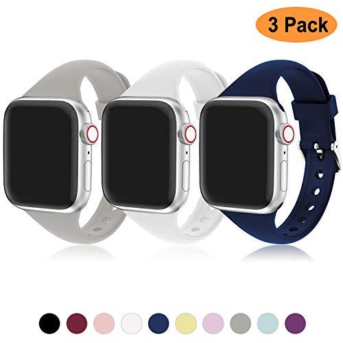Cinturino Apple Watch 42mm 38mm, Compatibile per Apple Watch 44mm 42mm 38mm 40mm, Cinturino Sportiva in Silicone Traspirante Cinturino Uomo e Donna per iWatch Serie 5 4 3 2 1, 3 Colori B, 42mm/44mm