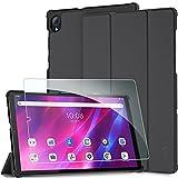 EasyAcc Funda Compatible con Lenovo Tab K10 10.3/ Lenovo Tab M10 FHD Plus 10.3 pulgadas con Cristal Blindado, Carcasa Ultrafina con Función de Encendido y Apagado Automático, Negro