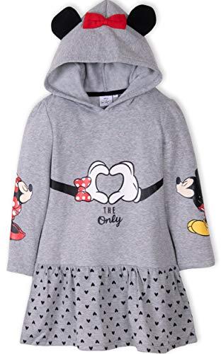 Disney Minnie Maus Original-Mädchen-Kleid, lange warme Fleece-Tunika mit Kapuze, 2–8 Jahre Gr. 6 Jahre, grau