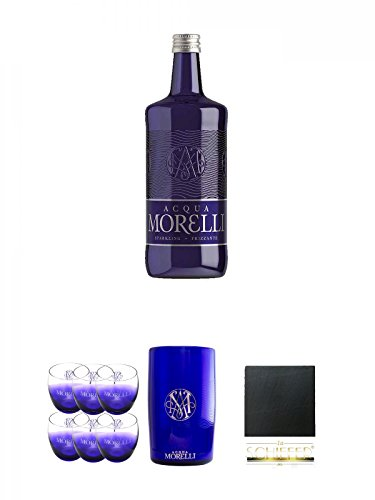 Morelli Sparkling Frizzante 0,75 Liter + Morelli Leonardo Wassergläser mit Eichstrich 0,2 Liter 6 Stück + Morelli Wasserkühler aus Acryl + Schiefer Glasuntersetzer eckig ca. 9,5 cm Durchmesser
