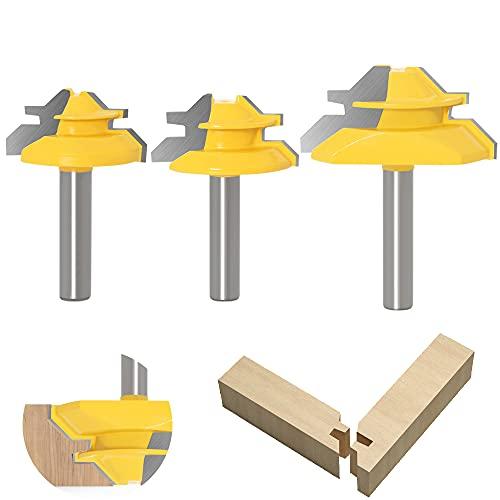 ASNOMY 3tlg. 45 GradVerleimfräser Gehrung, 8mm Schaft Verleimfräser Oberfräse, 45° Lock Miter Router Bit Holzbearbeitung Fräser Schneidwerkzeug für Graviermaschine Trimmmaschine