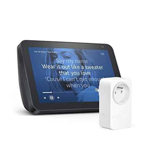 Echo Show 8, Tissu anthracite + Amazon Smart Plug (Prise connectée WiFi), Fonctionne avec Alexa