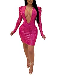 Deep Pink Long Sleeves Deep V Plunge Neck Sequin Bodycon
