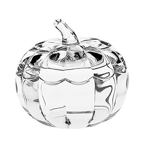 CRISTALICA Glasdose Kürbis Imperial 17,5cm Bonboniere Keksdose Bleikristall Hebst Halloween