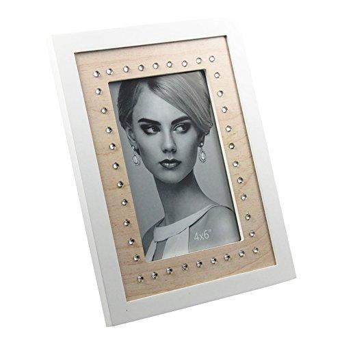 Cadre photo en bois avec strass Blanc mat laqué env. 17 x 22 cm pour photos 10 x 15 cm