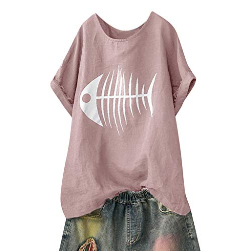 VECDY Blusas para Mujer, Camisa De Manga Corta Suelta, Hueso
