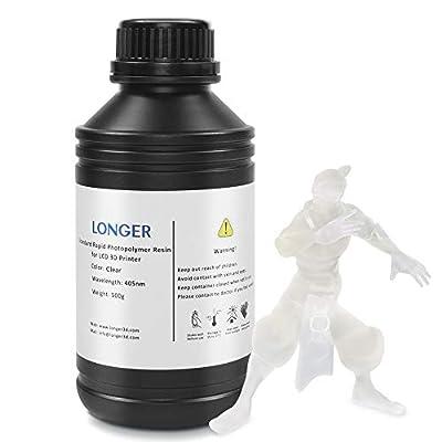 LONGER 3D Printer Resin LCD Light Curing Resin Standard Rapid Photopolymer Resin for DLP/LCD 3D Printing (500g, Transparent)