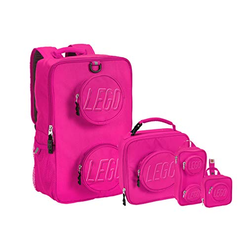 LEGO Kids Brick Backpack, Lunch, Mini Backpack & Pouch 4 Piece Set-Pink, One Size