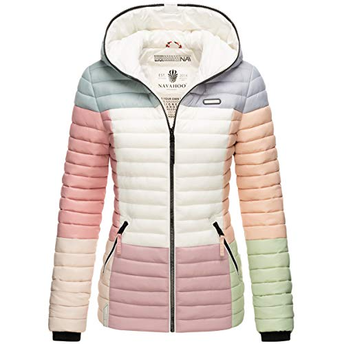 Navahoo Damen Jacke Steppjacke Übergangsjacke gesteppt Colour Blocking B841 [B841-Multikulti-Pastell-Gr.S]