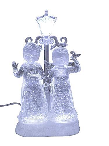Formano Deko Engelspaar an Laterne aus transparentem Acryl mit LED-Licht inkl. Batterien, 30 cm, weiß