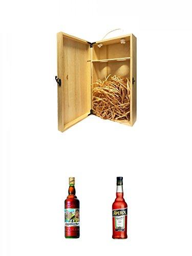 1a Whisky Holzbox für 2 Flaschen mit Hakenverschluss + Appenzeller Kräuterbitter aus der Schweiz 0,7 Liter + Aperol Aperitivo aus Italien 0,7 Liter