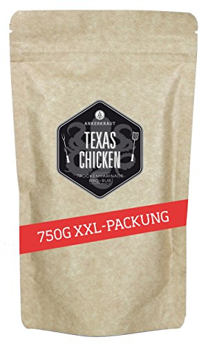 Ankerkraut Texas Chicken, BBQ Rub, Gewürzmischung für Chicken Wings, Hähnchen und Pulled Chicken, 750g im Beutel