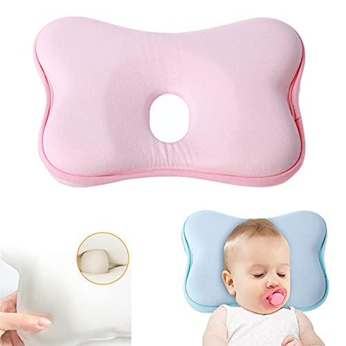 Babykopfkissen,Babykissen Gegen,Kleines Babykopfkissen,Plattkopf Babykissen,Baby Memory Schaum Kissen (Rosa)