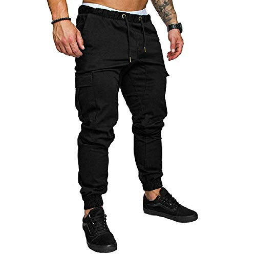 Pantalones de otoño para Hombre, Pantalones de Hip-Hop, Pantalones de chándal para Hombre, Pantalones Corrientes sólidos, Multibolsillos, Pantalones de chándal M-4XL Negro Negro (XL
