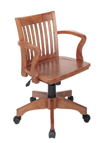 OSP Home Furnishings Deluxe Wood Bankers Desk Chair with Wood Seat, Fruit Wood