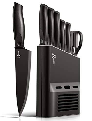Manelord Chef Knife Sets Kitchen Knives Set - 7 Pieces Chef Knife Set with Knives, Scissor, Block for Meat/Vegetables/Fruits Chopping, Slicing, Dicing & Cutting