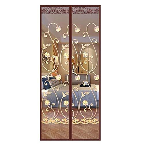 Magnetisch vliegengordijn, insectenwerend deurgordijn, anti-muggenraam gordijn, zware fouten, muggennet buiten, zomer, scherm voor de woonkamer of balkon 85 * 205cm bruin
