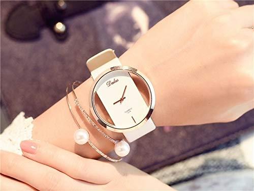 Reloj de Moda para Mujer, Reloj de Cuarzo y cinturón vacío. (Color : White)