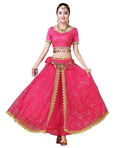 Grouptap Bollywood Lehenga Choli indische Frauen Anarkali Saree Damen Hochzeit Designer Tanz Bluse Kleid Rosa Lengha Kostüm (Rosa, 152-172 cm, 45-70 kg)
