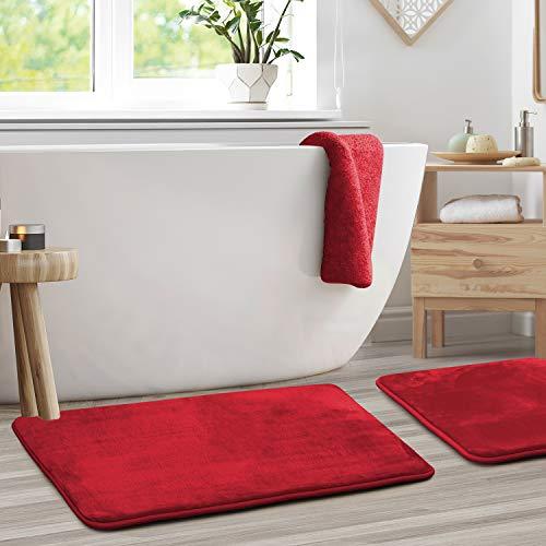 "Clara Clark Memory Foam Bath Mat Set of 2 - Non Slip, Absorbent, Soft Bath Rug Set - Fast Drying Washable Bath Mat - Red - Large Size 20"" x 32"""