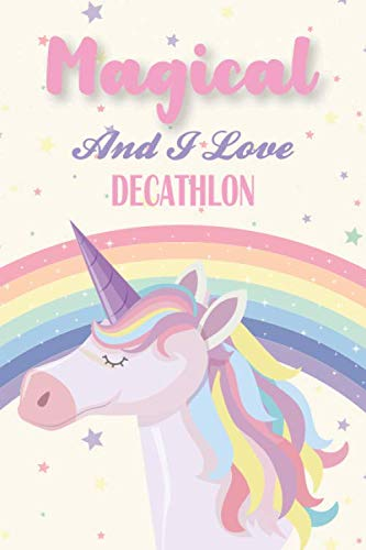 Magical And I Love Decathlon: Unicorn Decathlon Player Notebook For Doodling, Sketching,...
