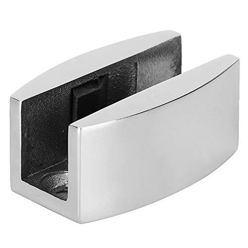 Guía de rodillo de piso de puerta de acero inoxidable Tope de oscilación de puerta en forma de U para puertas correderas de vidrio(Glossy)