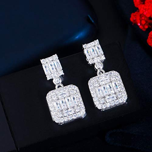 Delicado cuadrado blanco Zirconia cúbica topacio colgantes pendientes de plata gota para mujer fiesta boda joyería fina