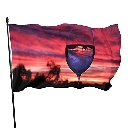 Reflejo de copa de vino Bandera de jardín al atardecer Bandera de interior al aire libre 3 x 5 pies, banderas de playa duraderas y resistentes a la decoloración con encabezado, fácil de usar