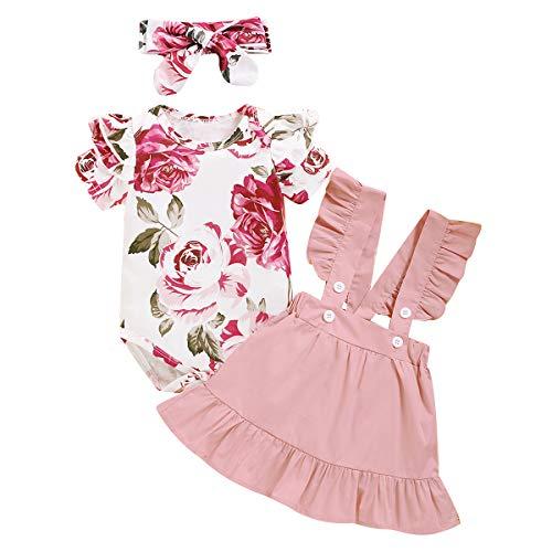 Amissz 3 PCs Bébé Fille Ensemble de vêtement Tenue Costume Mignon Barboteuse T-Shirt à Floral...