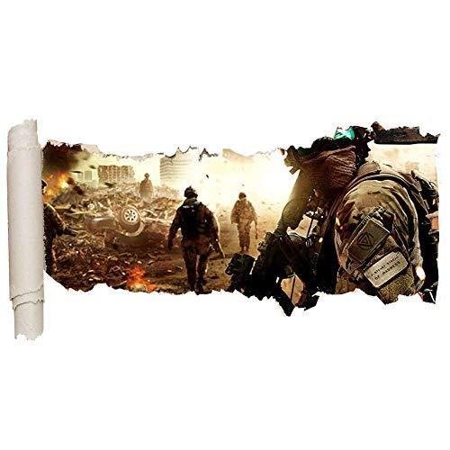 Adhesivo decorativo para pared, diseño de batalla de guerra y destroza a los niños