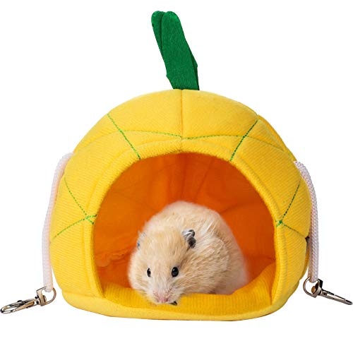 Pineapple Hammock Soft Hamster House Bed Small Animals Hamster Hanging House Cage Nest Sugar Glider Cage Accessories for Guinea Pig Rat Chinchilla Small Pets...