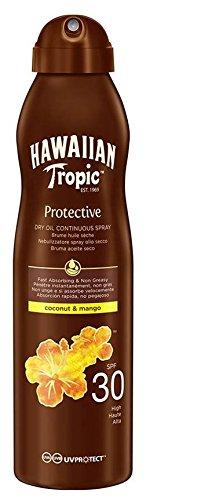 Hawaiian Tropic Protective Bruma Aceite Seco SPF 30 - Aceite bronceador en spray, Coco y Mango, 180 ml