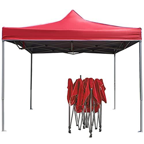 0℃ Outdoor Carpa Plegable Impermeable Cenador de Camping para Patas Tienda Campaña Desplegable Sombrilla Muebles Exterior, para Barbacoa, Parque, Patio, Jardín, Playa, Estacionamiento, Boda,Rojo,2x3m