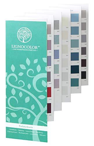 Lignocolor handgefertigte Farbtonkarte mit 130 Kreidefarben, Metallicfarben, Tafelfarben und Wandfarben