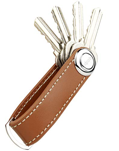 dpob Llavero, organizador de llavero compacto de cuero Llavero de diseño inteligente y práctico - Hecho de cuero de primera calidad duradero (Brown)