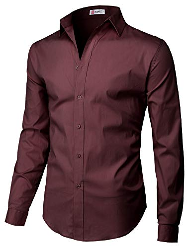 H2H Mens Casual Slim Fit Button Down Spandex Premium Long Sleeve Shirts Wine US XL/Asia 2XL (CMTSTL0134)