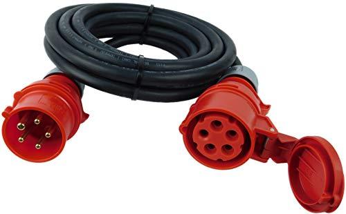 NWP CEE-Verlängerung 5m 400V 16A, Schwarz, IP44 5x2,5 mm² H07RN-F - Gummischlauchleitung, Verlängerungskabel für Baustelle, Industrie, Außenbereich