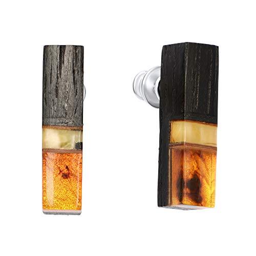 ANDANTE Premium Collection – Master of Zen – Pendientes de ámbar natural del mar Báltico, oro puro de 23 quilates, plata de ley 925 y roble negro * Pele – Diosa volcánica hawaiana * Certificado