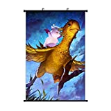 Ryuji Chocobo Moogles Fantasy Final Wall Hanging Scroll Poster Artwork Painting Wall Art Print for Home Decor Living Room Bedroom Fans Gift