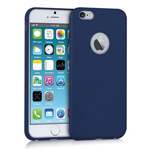 kwmobile Funda Compatible con Apple iPhone 6 / 6S - Carcasa de TPU Silicona - Protector Trasero en Azul Oscuro Mate