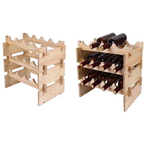 YAOBAO 12 Botellón Modular Apilable De La Botella del Vino, Estante del Almacenamiento del Vino, Tenedor del Vino De Madera Sólida, Estantes De Exhibición, Tambaleante,S
