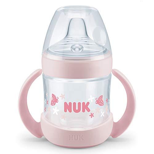 Nuk Nature Sense Trinklernflasche, Auslaufsicher, Extra Breite & Weiche Trinktülle, 6-18 Monate, BPA-frei, 150ml, Rosa