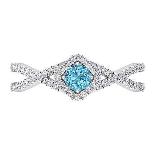 June Piedra de nacimiento — Solitario - Anillo redondo de 4 mm de rodolita con diamante, anillo de compromiso cruzado, 14K White Gold, Rhodolite, Size:US 53
