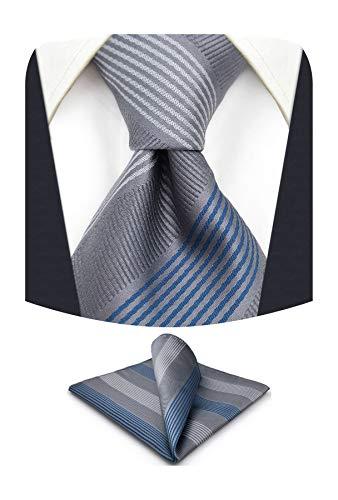 S&W SHLAX&WING Conjunto de corbatas para hombre Gris azul a rayas Novios Corbatas formales Corbata delgada con conjunto de bolsillo cuadrado