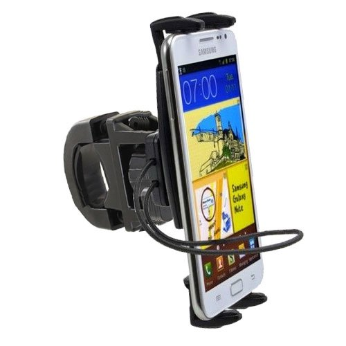 ChargerCity Super Grip Multi Adjust Bike Bicycle Motorcycle Mount w/Security Bungee Strap for iPhone X 8 7 6s Plus Samsung Galaxy S8 Note 8 (Fits All Bar up to 1.35 inch)