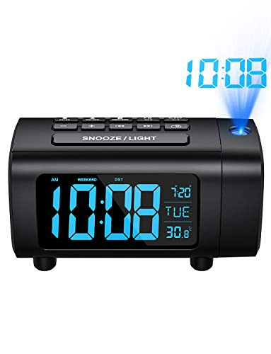 Projection Alarm Clock with Temperature Monitor, FM Radio, USB Charger, Auto-Off Projection, 2-Color Digit Display with 4 Dimmer, Weekend Mode, ℃/℉ Switch, DST, Sleep Timer, Snooze (Blue)