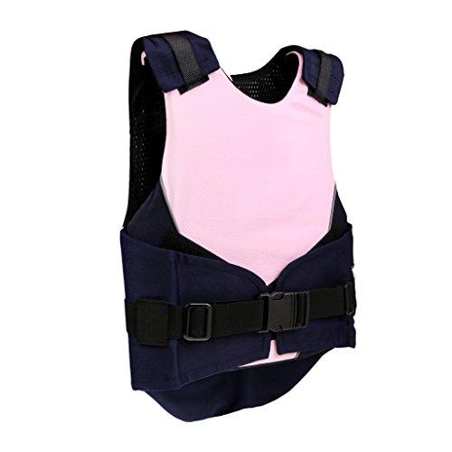 Gazechimp Chaleco de Equitación de Niños con Hebilla de Seguridad y Agujero de Aire Accesorio de Hípica Azul/Rosa Transpirable - Rosa, CS